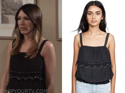 elizabeth hendrickson, the young and the restless, black grommet top, chloe mitchell