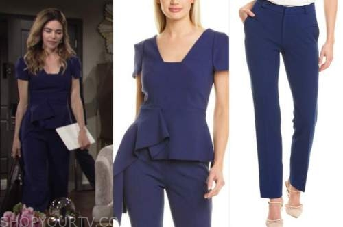 victoria newman, amelia heinle, the young and the restless, blue peplum top, blue pants