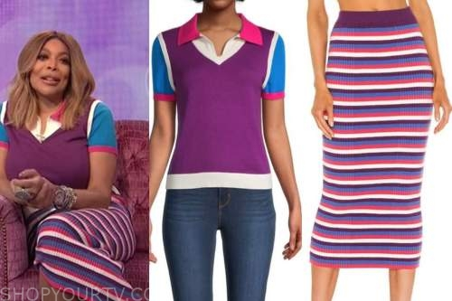 wendy williams, the wendy williams show, colorblock polo, striped knit skirt