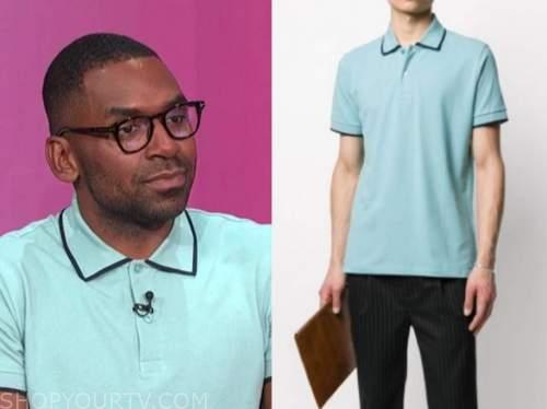 justin sylvester, E! news, daily pop, blue contrast trim polo shirt