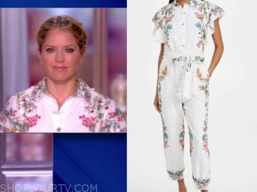 sara haines, the view, white floral jumpsuit