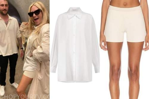 morgan stewart, white shirt, beige shorts, fashion