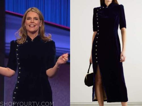 savannah guthrie, jeopardy, navy blue velvet dress