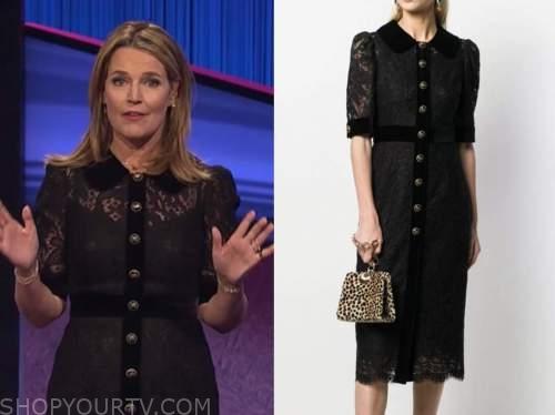 savannah guthrie, jeopardy, black lace dress