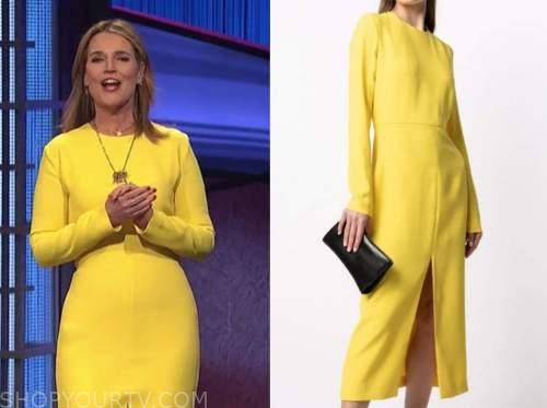 savannah guthrie, jeopardy, yellow dress