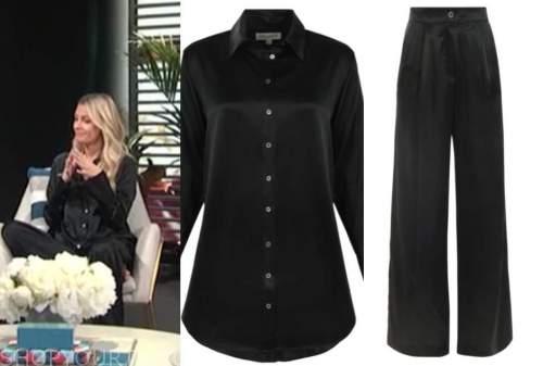 morgan stewart, black satin shirt, black satin pants