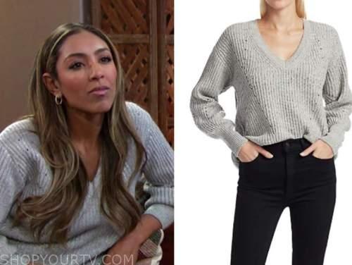 tayshia adams, the bachelorette, grey metallic sweater
