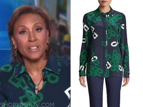 robin roberts, good morning america, green and blue printed shirt
