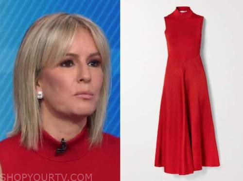 dr. jennifer ashton, good morning america, red mock neck midi dress