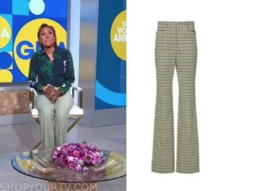 robin roberts, good morning america, green check pants