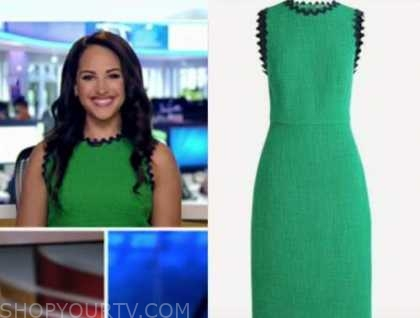 emily compagno, outnumbered, green tweed scallop sheath dress