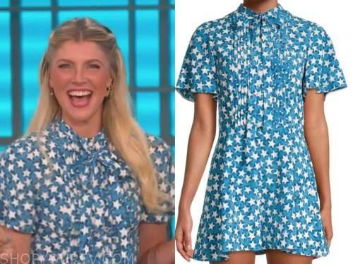 amanda kloots, the talk, blue and white star print romper dress