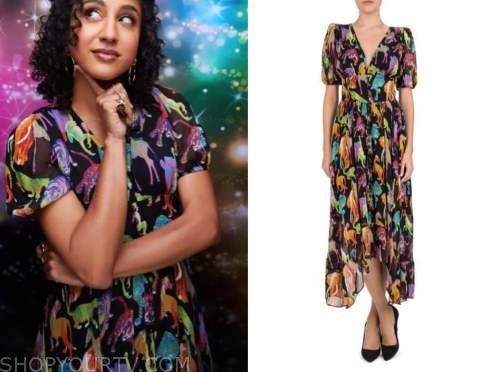 vella lovell, the kelly clarkson show, multicolor printed dress
