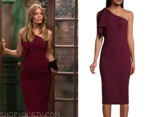 the young and the restless, phyllis newman, michelle stafford, burgundy red one-shoulder dress