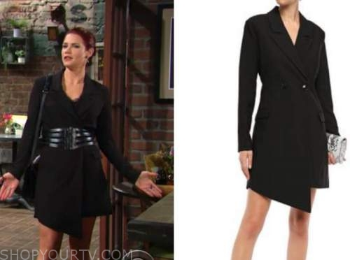 sally spectra, courtney hope, the young and the restless, black blazer dress