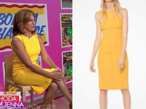 the today show, hoda kotb, yellow sheath dress