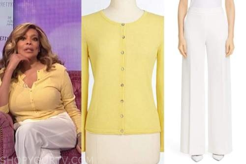 wendy williams, the wendy williams show, yellow cardigan, white pants