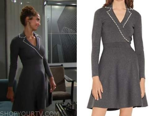 lily winters ashby, christel khalil, the young and the restless, pearl trim grey blazer dress