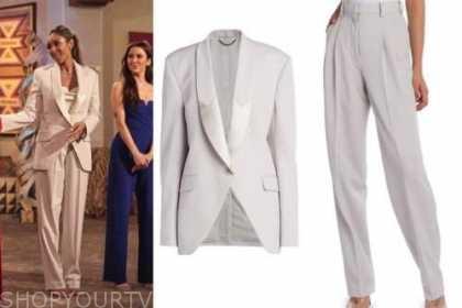 tayshia adams, the bachelorette, grey pant suit