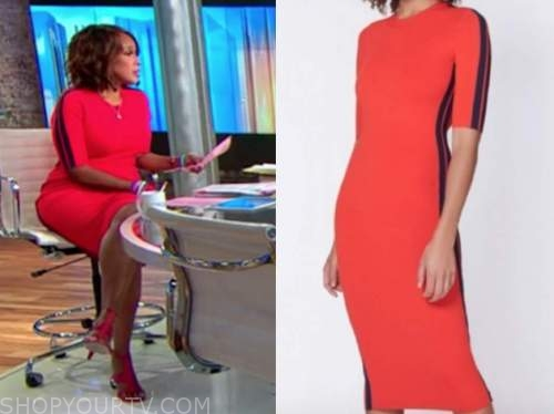 gayle king, cbs this morning, red side stripe dress