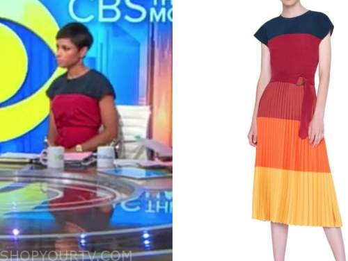 jericka duncan, colorblock pleated dress, cbs this morning
