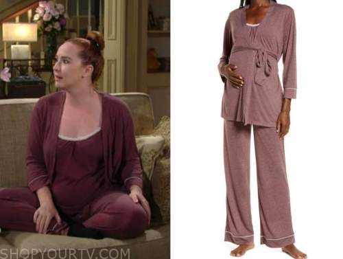 mariah copeland, camryn grimes, the young and the restless, purple maternity pajamas and robe
