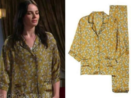 cait fairbanks, tessa porter, the young and the restless, green printed pajamas