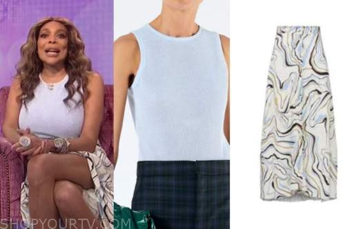 wendy williams, the wendy williams show, blue mesh bodysuit, marble skirt