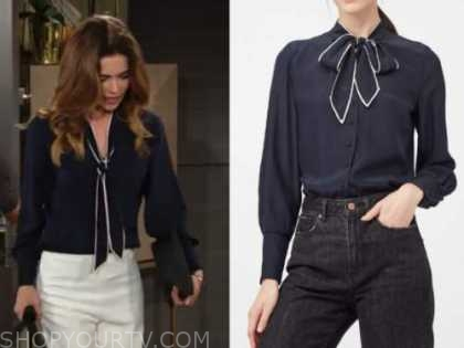 victoria newman, amelia heinle, the young and the restless, navy blue contrast trim tie neck blouse