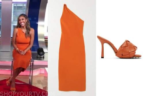 tayshia adams, good morning america, orange dress, orange sandals