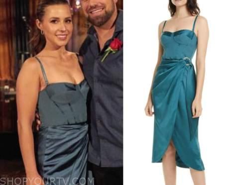 katie thurston, the bachelorette, teal bustier drape dress