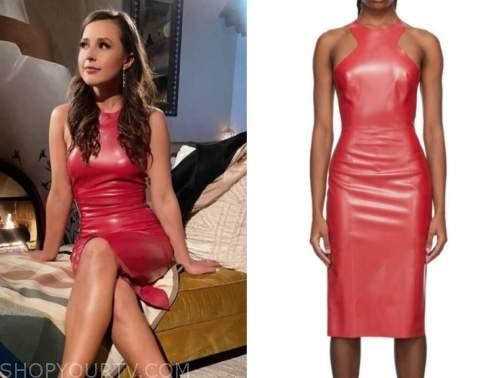katie thurston, the bachelorette, red latex midi dress