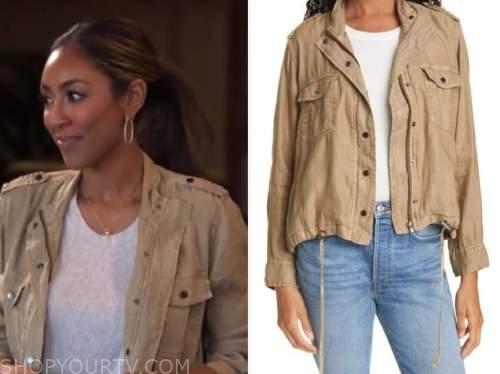 tayshia adams, the bachelorette, brown utility jacket