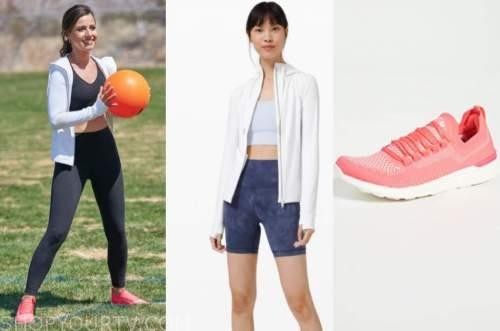 katie thurston, the bachelorette, white jacket, coral sneakers