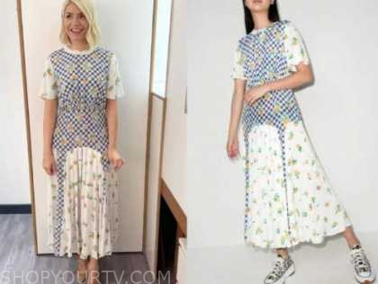 holly willoughby, this morning, gingham floral midi dress