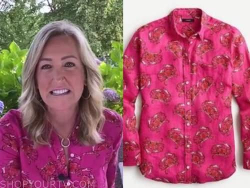 lara spencer, good morning america, pink crab print shirt