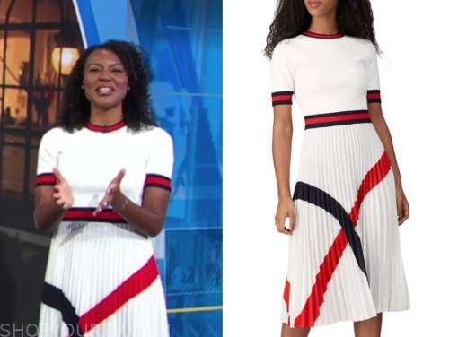 janai norman, good morning america, pleated colorblock dress
