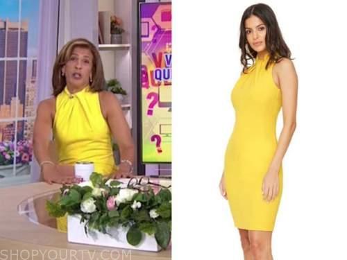 the today show, yellow halter dress, hoda kotb