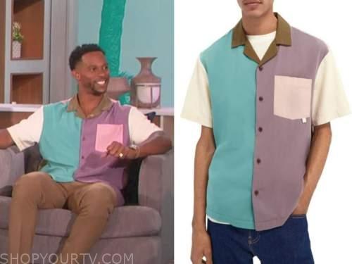 victor cruz, the talk, colorblock shirt