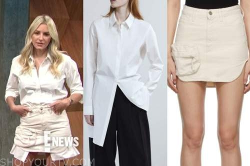 morgan stewart, E! news, daily pop, white shirt, ivory cargo skirt
