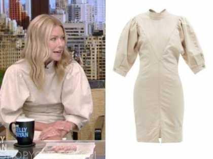 kelly ripa, live with kelly and ryan, ivory puff sleeve dress