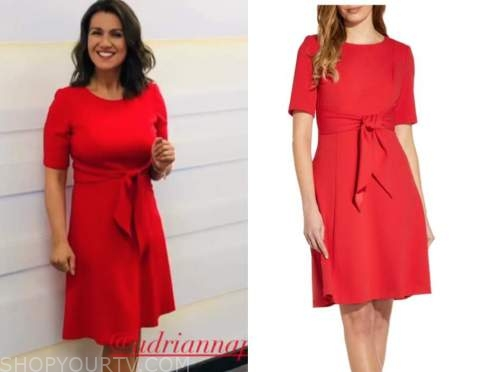 susanna reid, good morning britain, red tie waist dress