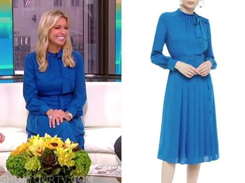 ainsley earhardt, fox and friends, blue tie neck dress