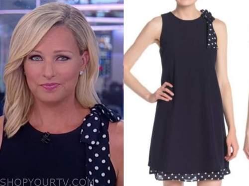 sandra smith, america reports, navy blue polka dot bow dress