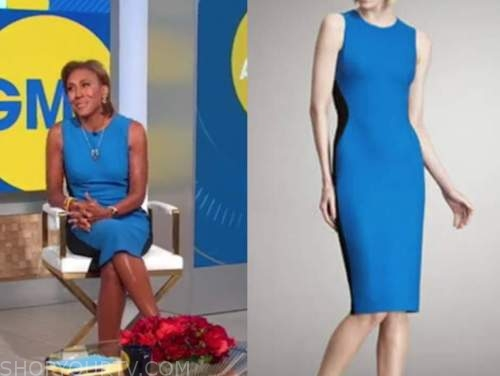 robin roberts, good morning america, blue colorblock sheath dress