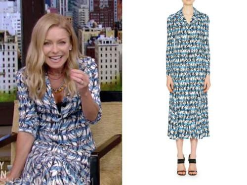 kelly ripa, live with kelly and ryan, blue striped printed shirt dress