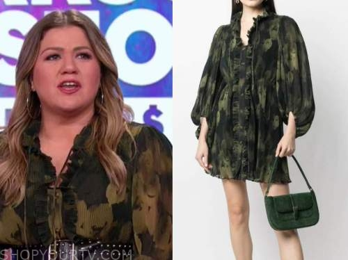 kelly clarkson, the kelly clarkson show, green pleated floral dress