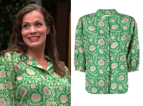 chelsea newman, melissa claire egan, the young and the restless, green printed top