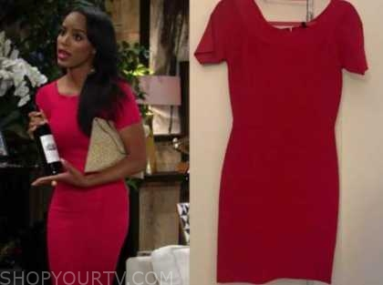 imani benedict, leigh-anne rose, the young and the restless, red bandage dress