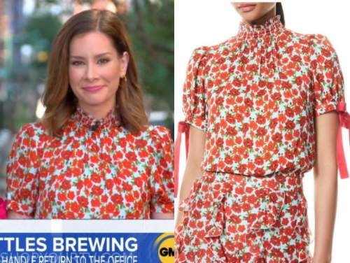rebecca jarvis, good morning america, floral top